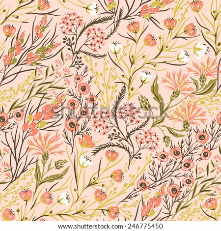 vector floral seamless pattern with pastel blooming flowers - stock vector