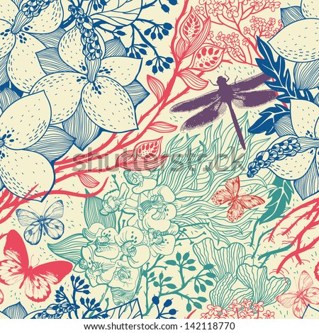 vector floral seamless pattern with plants and insects