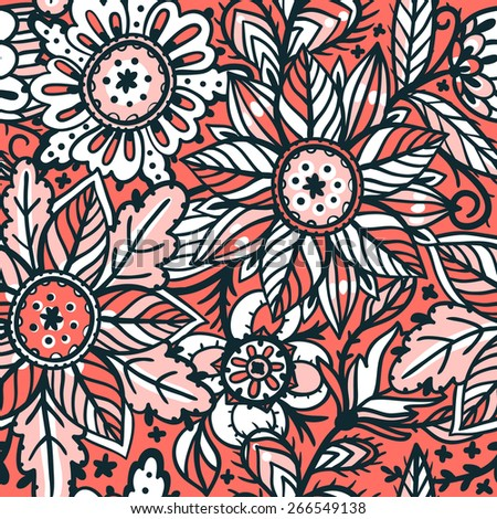 vector floral seamless pattern with sketchy abstract blooms - stock vector