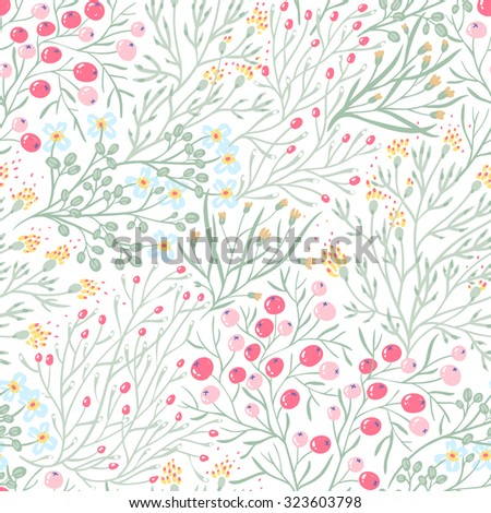 vector floral seamless pattern with summer herbs and berries - stock vector