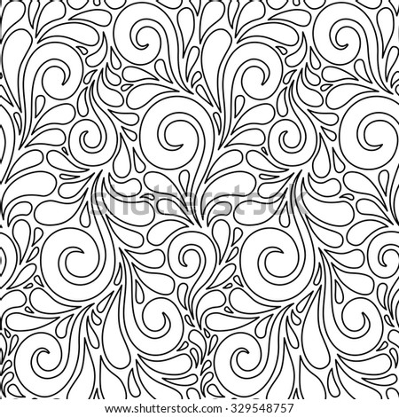 Vector floral seamless pattern with swirl shapes. Black and white linear background. Decorative illustration for print, web