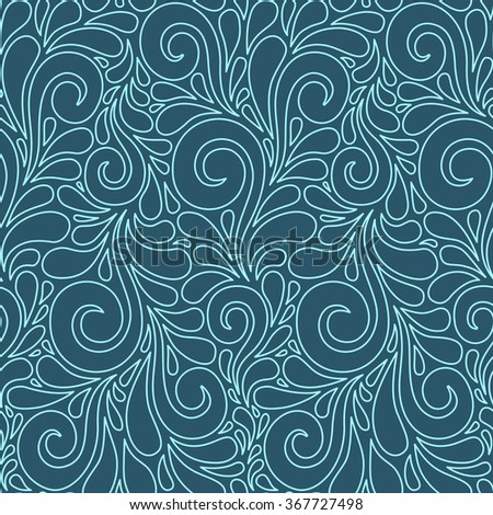 Vector floral seamless pattern with swirl shapes. Blue linear background. Decorative illustration for print, web
