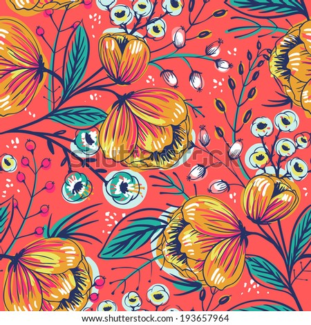 vector floral seamless pattern with vintage blooming flowers on a red background - stock vector