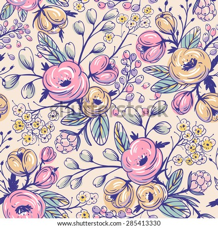 vector floral seamless pattern with vintage roses