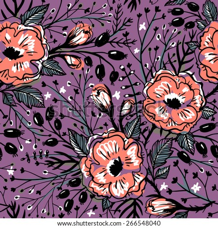 vector floral seamless pattern with vintage roses and berries - stock vector