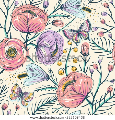 vector floral seamless pattern with vintage roses and butterflies - stock vector