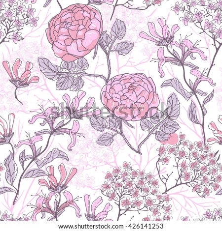 vector floral seamless pattern with vintage roses and plants