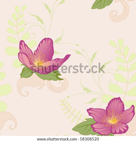vector floral seamless pattern with violet flowers and ornament