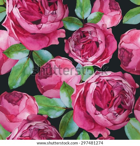 Vector floral seamless pattern with watercolor roses. Background with bouquets of hand-drawn watercolor flowers  - stock vector