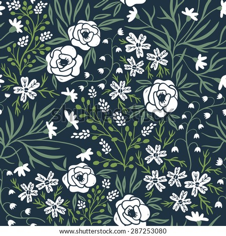 vector floral seamless pattern with white flowers on a dark background - stock vector