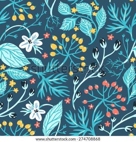 vector floral seamless pattern with wild herbs and berries - stock vector