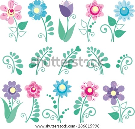vector floral set,  colorful floral collection with leaves and flowers