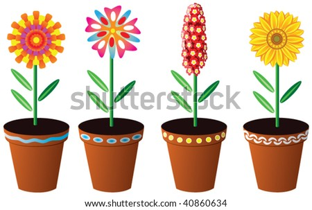 vector floral set of colorful flowers in pots - stock vector