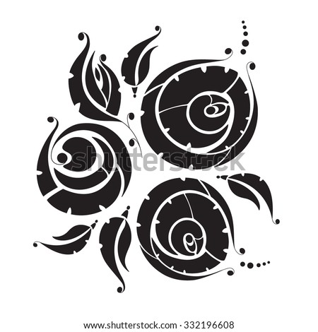 Vector floral silhouette on white background. Black floral silhouette on a white background. Abstract vector flowers. - stock vector