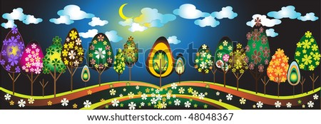 Vector floral tree design. A landscape with abstract trees and background. - stock vector