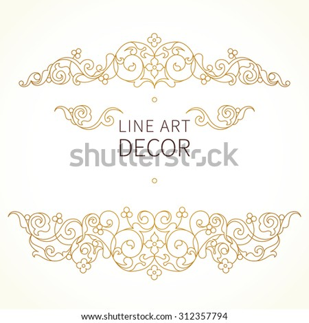 Vector floral vignette in Eastern style. Ornate line art element for design. Lace horizontal decor. Golden ornament for invitations, birthday and greeting cards, thank you message, certificate. - stock vector