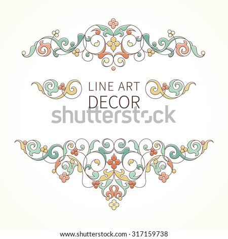 Vector floral vignettes in Eastern style. Ornate line art element for design. Lace horizontal decor. Pastel ornament for invitations, birthday and greeting cards, thank you message, certificate. - stock vector