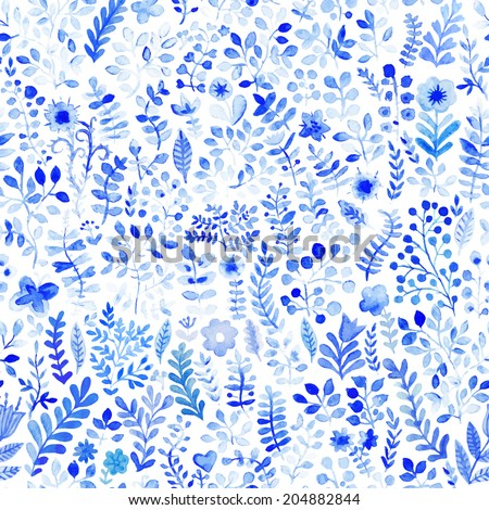 Vector floral watercolor pattern, texture with flowers. Floral pattern. Original floral background. Blue  flowers pattern. Seamless texture. Flowers watercolors. Ornament. Painting - stock vector