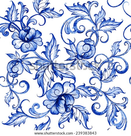 Vector floral watercolor texture pattern with flowers.Watercolor floral pattern.Blue flowers pattern.Seamless pattern can be used for wallpaper,pattern fills,web page background,surface textures