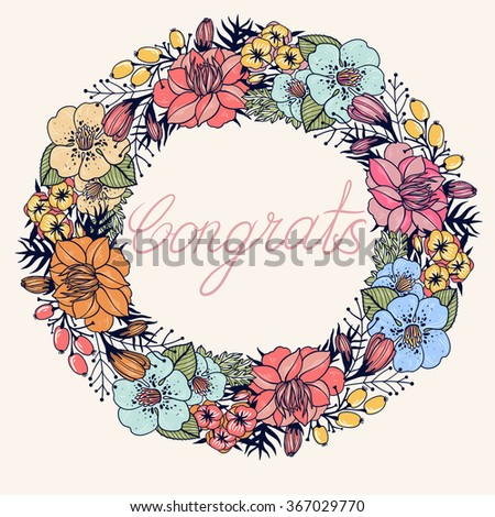 vector floral wreath with colorful blooming flowers, buds and berries - stock vector