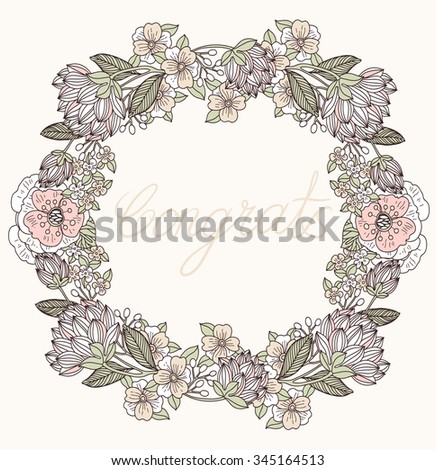 vector floral wreath with hand drawn vintage blooms and plants