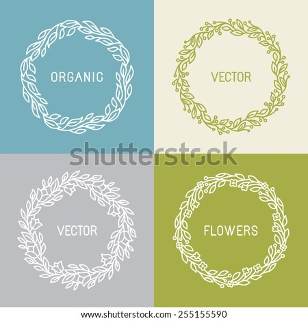 Vector floral wreaths and linear borders - abstract design template for logos and insignias - stock vector