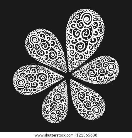 Vector flourish background black and white colored - stock vector