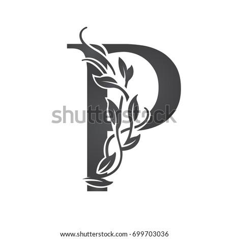 Vector Flourish Black Letter P Logo