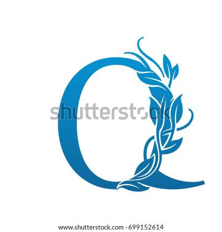 vector flourish blue letter o logo stock vector 699152575