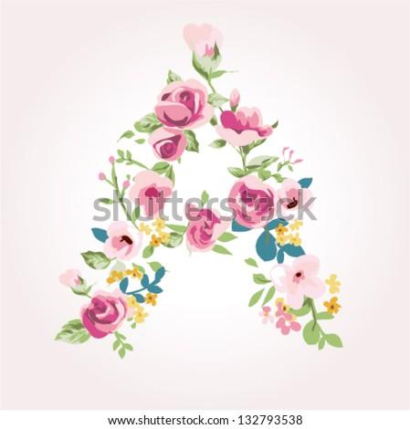 vector flower font,capital A - stock vector