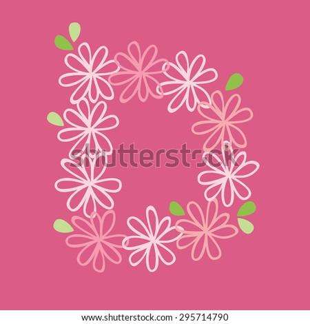 vector flower font, capital Alphabet Letter D - stock vector