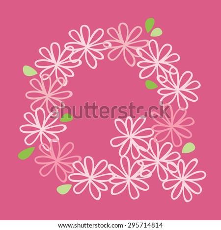 vector flower font, capital Alphabet Letter Q - stock vector