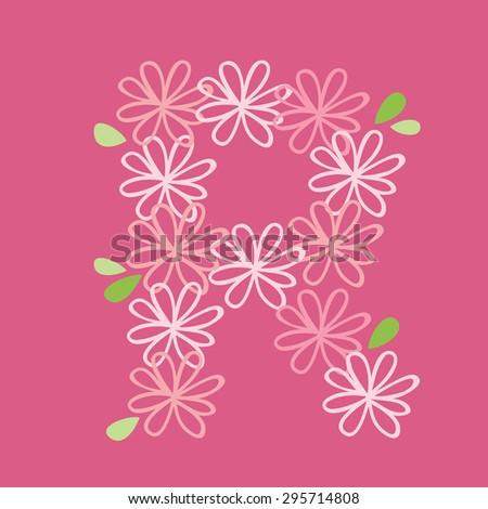 vector flower font, capital Alphabet Letter R - stock vector