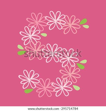 vector flower font, capital Alphabet Letter S - stock vector