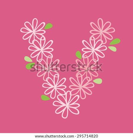 vector flower font, capital Alphabet Letter V - stock vector