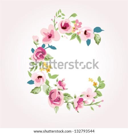 vector flower font,capital C - stock vector