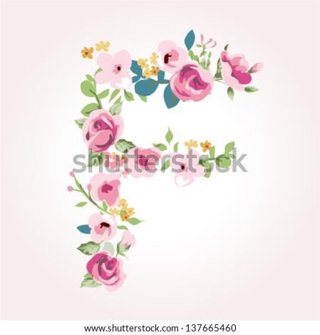 vector flower font,capital F - stock vector