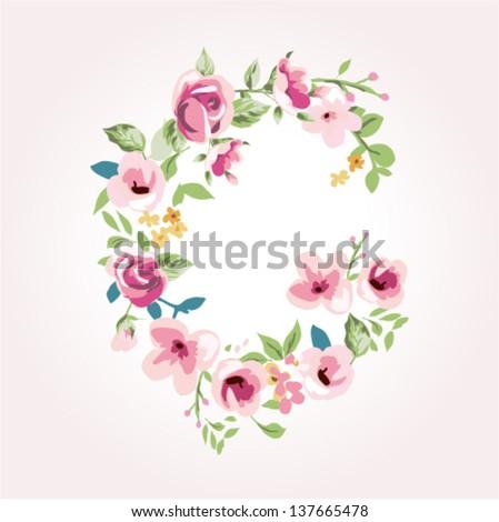 vector flower font,capital G - stock vector