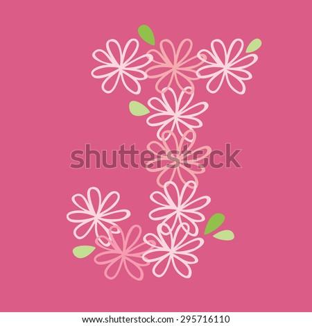 vector flower font, capital J - stock vector