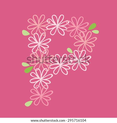 vector flower font, capital P - stock vector
