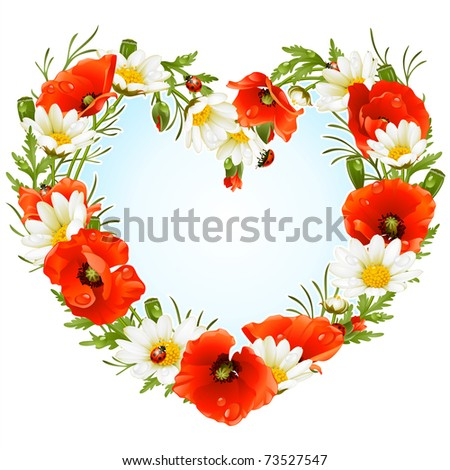 Vector flower frame in the shape of heart. Poppy and Camomile