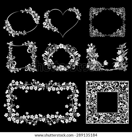 Vector  flower frame set isolated on Black background. Vector illustration - stock vector