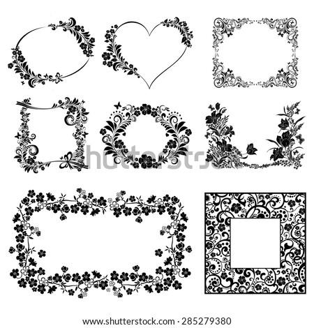 Vector flower frame set isolated on White background. Vector illustration - stock vector