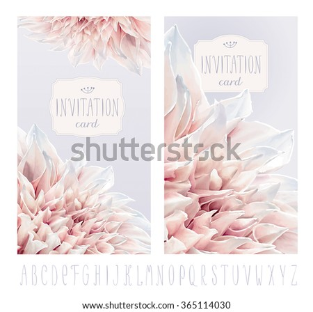 Vector flower greeting and invitation cards for Valentine's Day, wedding and other events with hand drawn alphabet - stock vector