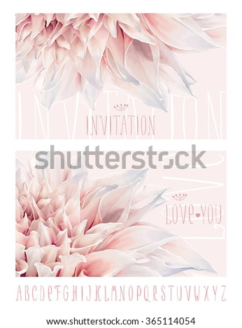 Vector flower greeting and invitation cards for Valentine's Day, wedding, events and sales with hand drawn alphabet - stock vector