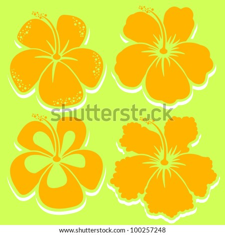 Vector Flower. Hibiscus Collection in yellow. Grouped for easy editing. Perfect for invitations or announcements. In gallery also collections in other colors. - stock vector