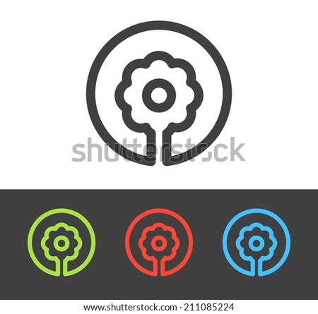 Vector flower icon set, line and flat design - stock vector