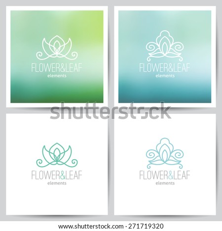 vector flower logo set on colored blurred backgrounds and on white - stock vector