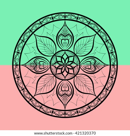 Vector Flower Mandala. Dreamcatcher style. Ethnic decorative element. - stock vector