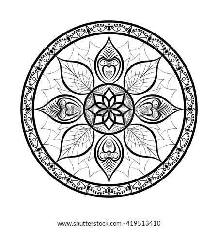 Vector Flower Mandala. Dreamcatcher style. Ethnic decorative element for your designs, invitation card, yoga, meditation, astrology and other projects. Mandala Icon.  - stock vector